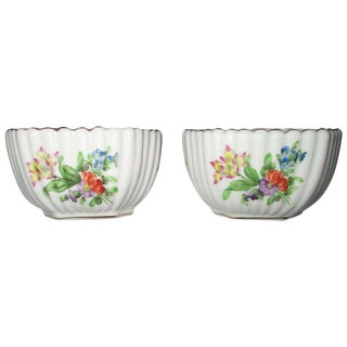 Herend Hungary Floral Ribbed Salt & Pepper Cellars - A Pair For Sale