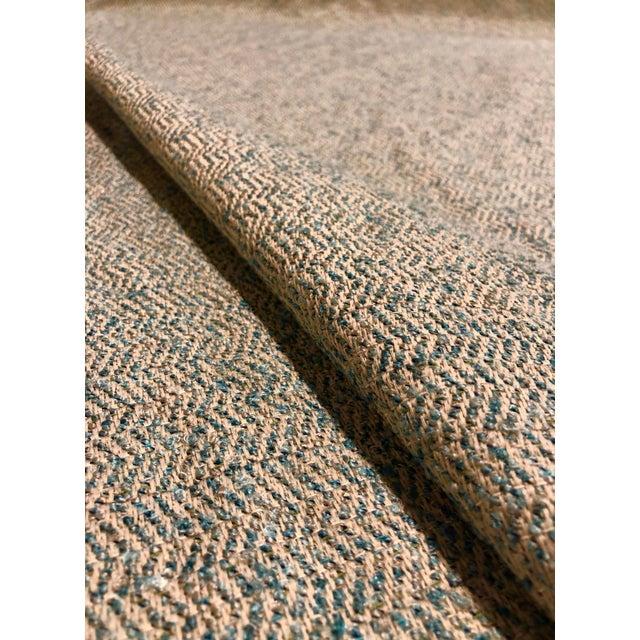 Modern Modern Herringbone - Linen / Turquoise Upholstery Fabric - 10 Yards For Sale - Image 3 of 4