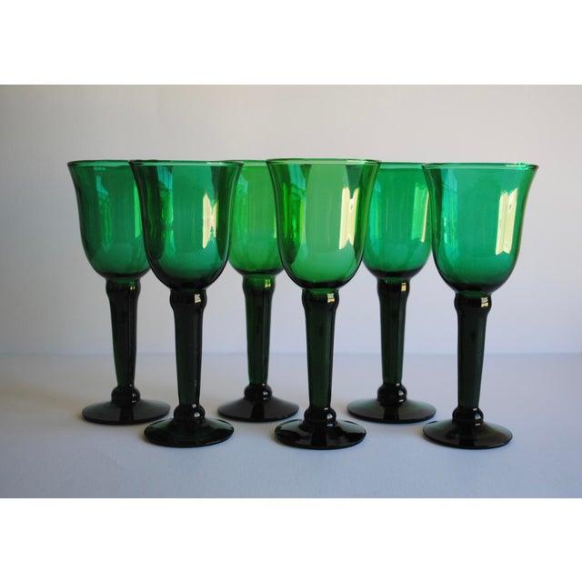 Vintage Emerald Green Wine Glasses - Set of 6 - Image 3 of 4