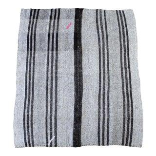 Vintage Turkish Flat-Weave Teresa Rug Gray and Brown Stripes For Sale