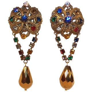 Regal 1950's Ornate Antiqued Gold & Color Rhinestone Dangle Earrings For Sale
