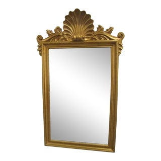 20th Century Antique Louis Philippe Style Giltwood Mirror With Clamshell Carvings For Sale