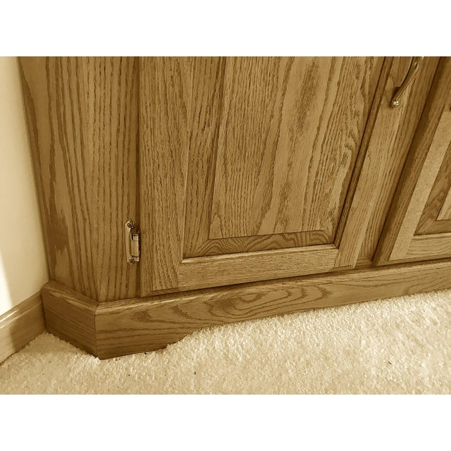 Glass Solid Oak Corner Display Cabinet For Sale - Image 7 of 12