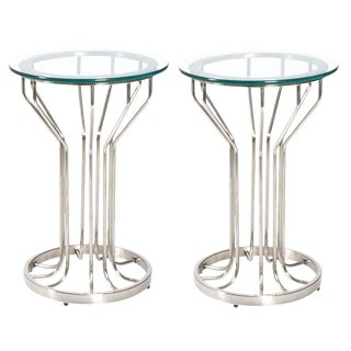 Pair of Mid-Century Modern Nickel and Glass Side Tables