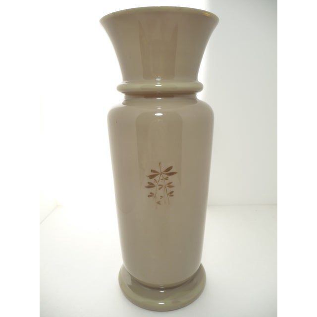 Antique European Hand Painted Art Glass Vase Taupe W Calla Lily For Sale - Image 5 of 7