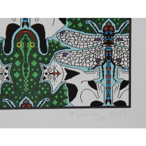Artist: Kenneth Landry Title: Dragonfly/Frog/Cat Year: 1993 Medium: Offset Lithograph, signed and numbered in pencil...