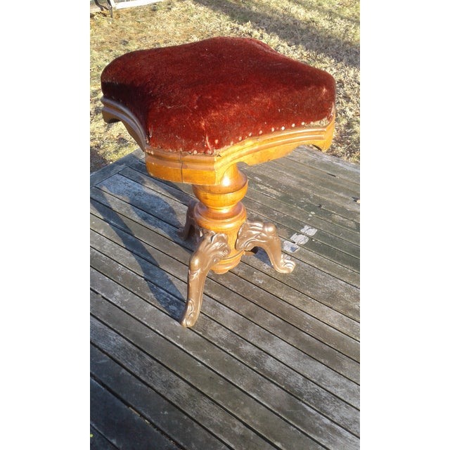 G.W. Archer Victorian Era Cast Iron & Wood Piano Stool - Image 5 of 5