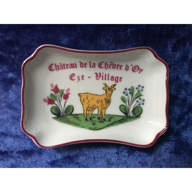 Green Vintage Chateau De La Chèvre d'Or Eze Village French Limoges Trinket Soap Dish For Sale - Image 8 of 8