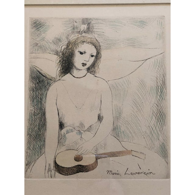"""Marie Laurencin Hand Colored Etching """"Jeune Fille a La Guitare"""" For Sale In San Francisco - Image 6 of 6"""