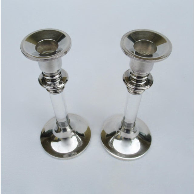 Metal Vintage Mid-Century Karl Springer-Style, Lord & Taylor Silver Plate & Lucite Candle Holders -A Pair For Sale - Image 7 of 13