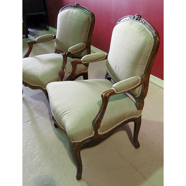 Louis XV Style Fauteuil Chairs - a Pair For Sale - Image 4 of 8