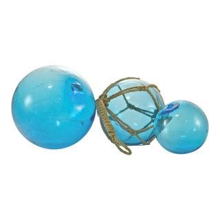 Aqua Blue Blown Glass Fishing Floats - Set of 3