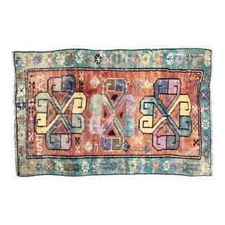 Antique Turkish Handmade Door Mat Small Rug - 1′10″ × 2′11″ For Sale