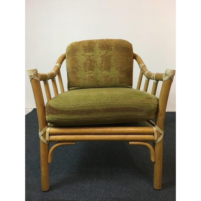 Vintage Bamboo Armchairs & Ottoman - Set of 3 - Image 4 of 9