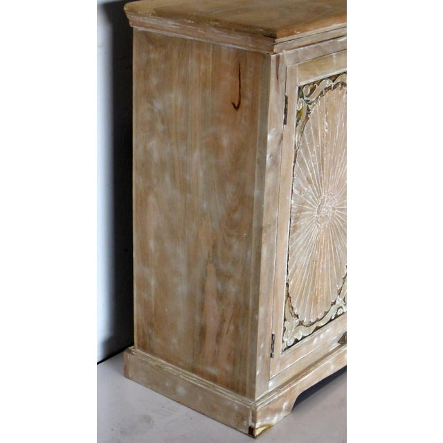 Shabby Chic 1990s Vintage Wooden Carved White Wash Cabinet For Sale - Image 3 of 7
