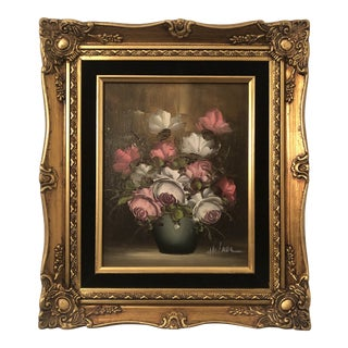 Vintage Robert Sills Gallery Flower Still Life Oil Painting For Sale