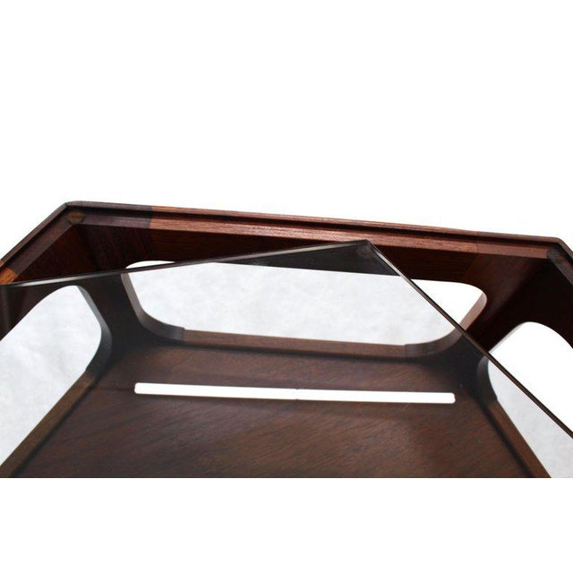 Solid Oiled Walnut Fitted Smoked Glass Top Hexagon Center Side End Table For Sale In New York - Image 6 of 8