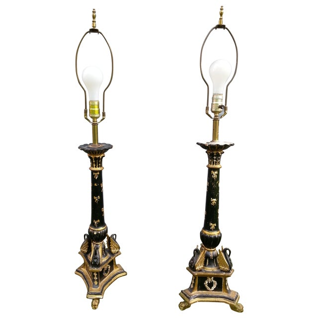 Italian Pricket Candlestick Lamps - A Pair For Sale