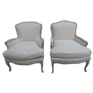 1940s French Bergere Chairs - A Pair