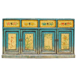Distressed Rustic Light Blue Yellow Sideboard Console Table Cabinet For Sale