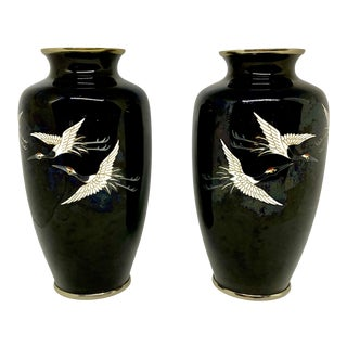 1950s Japanese Cloisonne Vases With Flying Cranes - a Pair For Sale