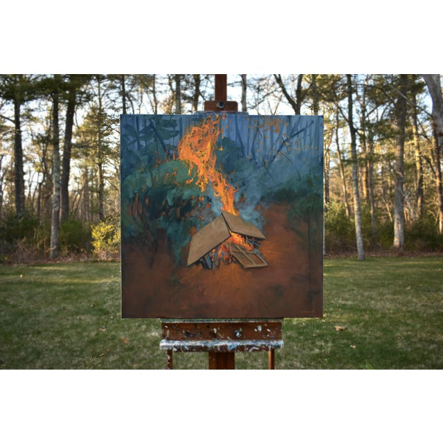 """Burning Old Paintings"" Contemporary Painting by Stephen Remick For Sale - Image 9 of 13"
