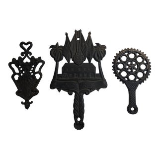 Vintage Classic Cast Iron Kitchen Trivets - Set of 3 For Sale