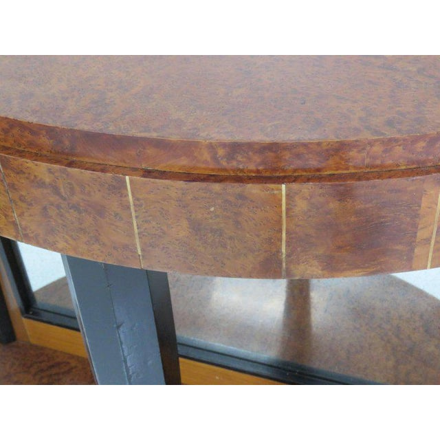 Pair of Mid Century Modern Style Burl Walnut and Ebonized Mirrored Consoles For Sale In Philadelphia - Image 6 of 9