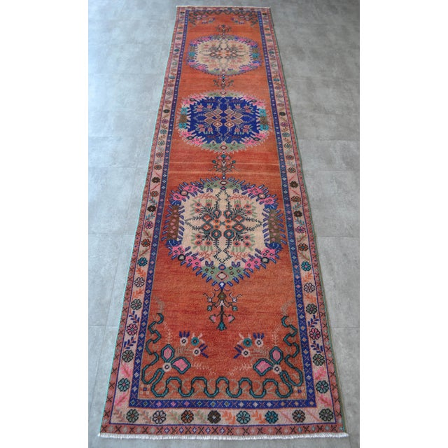 """Oushak Runner Rug Turkish Hand Knotted Distressed Hallway Rug - 3'1"""" X 12'7"""" For Sale - Image 4 of 9"""