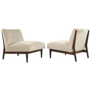 1950s Paul McCobb Velvet Upholstered Mahogany Slipper Chairs - a Pair For Sale