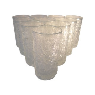 Danish Modern Ice-Textured Glasses - Set of 10 For Sale