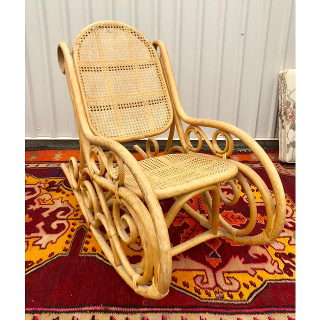 Boho Chic Vintage Mid Century Bamboo Rattan Spiral Rocking Chair For Sale - Image 3 of 7