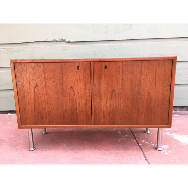 1960s Small Mid-Century Danish Modern Teak Cabinet For Sale - Image 5 of 5