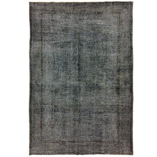 Gunmetal Gray Overdyed Vintage Industrial Contemporary Carpet | 6'9 X 10'2 For Sale