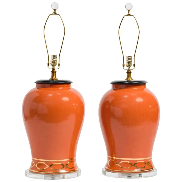 Ceramic Pair of Orange Overscale Ceramic Ginger Jar Table Lamps For Sale - Image 7 of 7