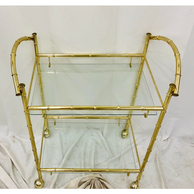 Mid 20th Century Vintage Hollywood Regency Faux Bamboo Bar Cart For Sale - Image 5 of 8