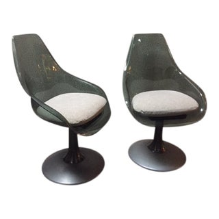 Mid-Century Vintage Lucite Swivel Chairs- A Pair For Sale