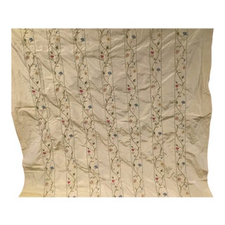 Embroidered Floral Cream Silk Fabric For Sale