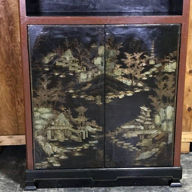 Chinese Ming Style Lacquered Bookcase or Cabinet - Image 6 of 11