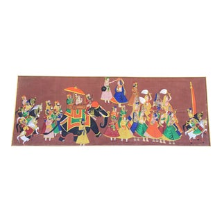 Oversized Vintage Indian Canvas Painting For Sale