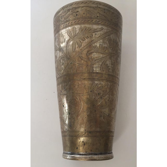 Anglo Raj Mughal Brass Engraved Beakers - Set of 2 For Sale - Image 4 of 12