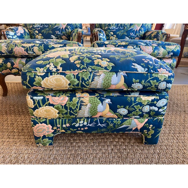 Blue Vintage Quilted Chairs and Ottoman - Set of 3 For Sale - Image 8 of 10