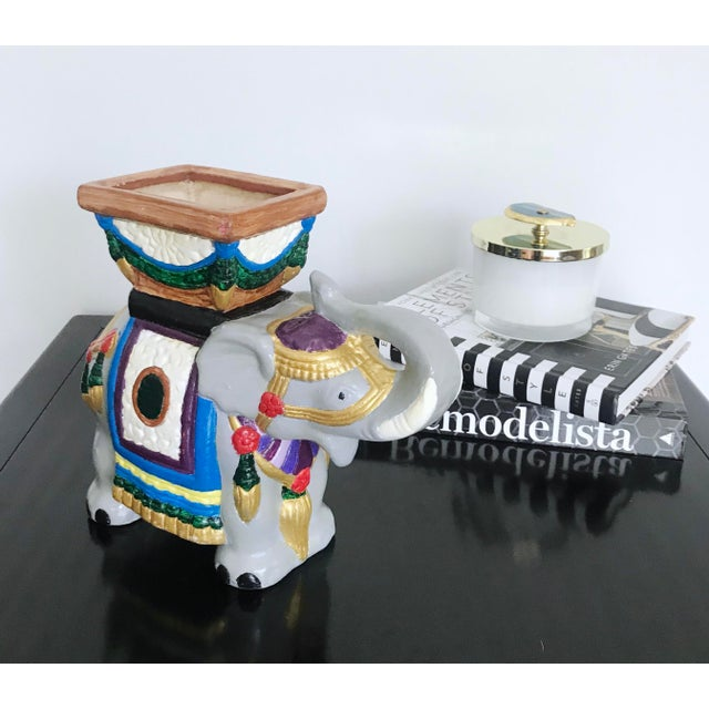 Vintage 1960's Hand-Painted Ceramic Elephant Planter For Sale - Image 11 of 13