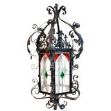 Image of French Antique Wrought Iron Lantern For Sale