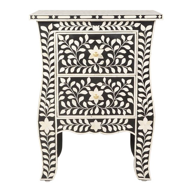 Imperial Beauty 2 Drawer Bedside Table in Black/White For Sale