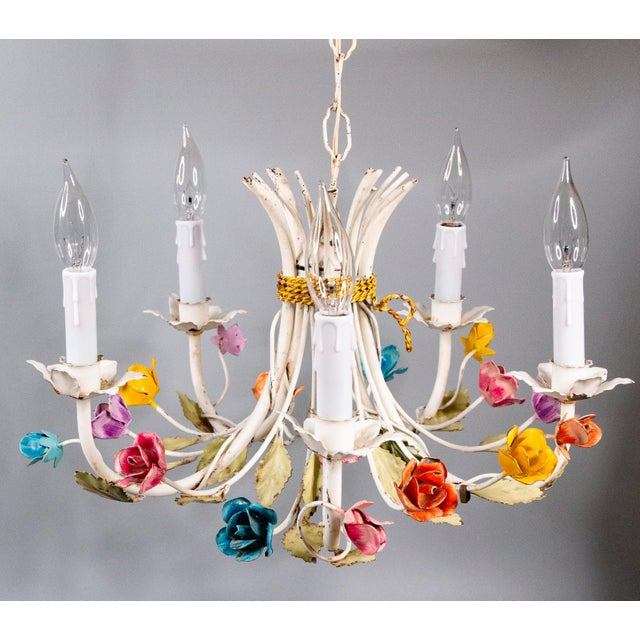 Vintage Mid-Century Italian Tole Roses Five Arm Chandelier For Sale - Image 9 of 9