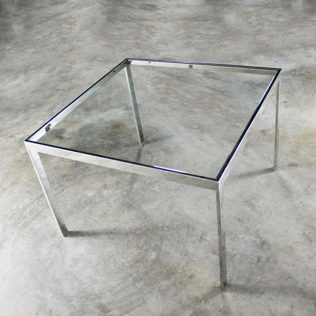 Chrome and Glass Milo Baughman Attribution Parsons Style End Table Vintage Modern For Sale - Image 9 of 10