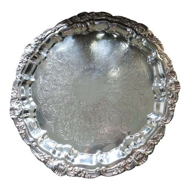 Vintage 1970s Silver Plate Serving Tray For Sale