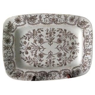 Vintage Brown & White English Platter