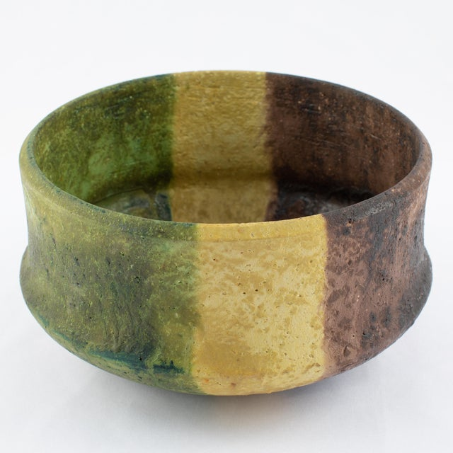 Italian Marcello Fantoni Yellow, Green and Burgundy Ceramic Bowl, Circa 1970s For Sale - Image 3 of 13